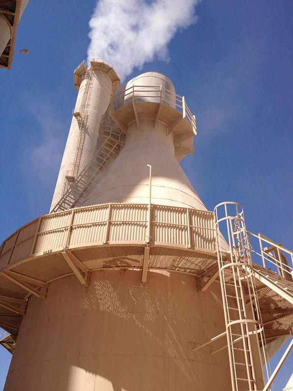 نصب رسوب زدا هیدروفلو در نازل اسپری برج خنک کن کارخانه سیمان بجنورد